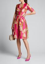 Carolina Herrera Floral-Print Chiffon 1/2-Sleeve Dress