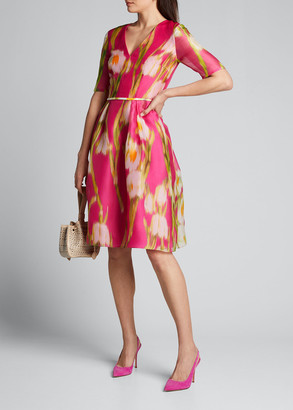 Carolina Herrera Floral-Print Chiffon 1/2-Sleeve Dress