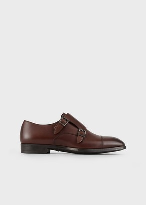 Giorgio Armani Brushed Leather Monkstraps With Toe Cap Stitching