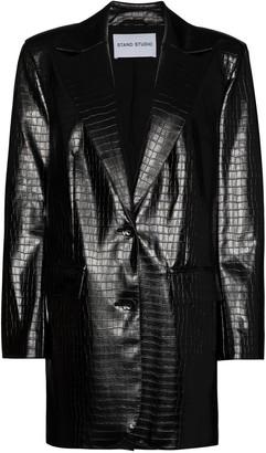 Stand Studio Juniper croc-effect faux leather blazer