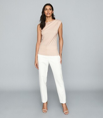 Reiss Flavia - Jersey High Neck Top in Blush