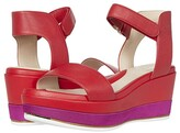 Cole Haan Grand Ambition Flatform Wedge Sandal 65 mm (Tango Red Tumbled Leather/CH Fuchsia Nylon Midsole) Women's Shoes