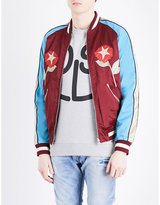 Diesel Tree-embroidered satin bomber jacket