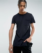 New Look Distressed Longline T-Shirt In Black