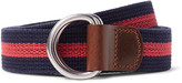 J.Crew 3cm Burnished Leather-Trimmed Striped Cotton Belt