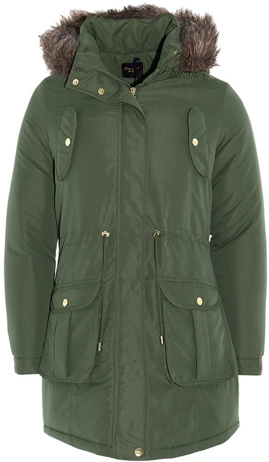 Thumbnail for your product : Brave Soul Ladies Parka Coat - Cicely - Khaki Green - UK 12