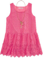 Self Esteem Allover Lace Peplum Tank Top with Necklace - Girls 7-16