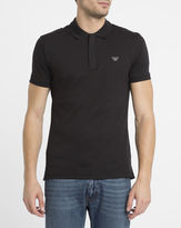Armani Jeans Black Zip Neck Chest Logo Slim-Fit Polo Shirt