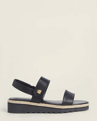 Lauren Ralph Lauren Black Jewelle Wedge Leather Sandals