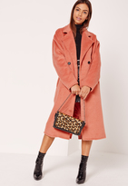 Missguided Cocoon Double Breasted Faux Wool Coat Pink