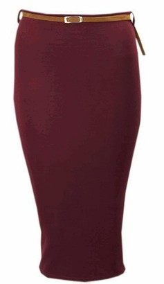 FASHIONGYAL UK P97 New Womens Ladies HIGH Waisted Belted Rib Bodycon Plus Size Pencil Skirt in 08-26 (Wine 14)