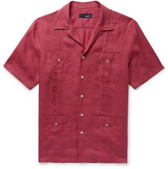 Lardini Slim-Fit Camp-Collar Pleated Linen Shirt