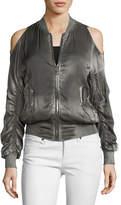 RtA Jester Cold-Shoulder Silk Bomber Jacket