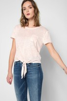 7 For All Mankind Short Sleeve Tie Front Top In Peony