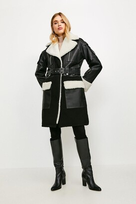 Karen Millen Leather And Shearling Layered Biker Trench Coat