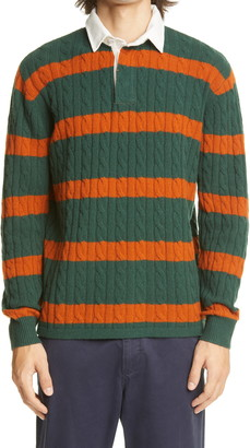 Beams Stripe Cable Wool Blend Rugger Sweater