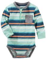 Osh Kosh Stripe Bodysuit in Blue/Teal