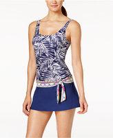 Jag Tropical Palm Thigh-Minimizing Tie-Waist Swimdress