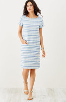 J. Jill Textured-Linen Striped Dress