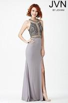 Jovani JVN29121 Crystal Embellished Sheer Slit Dress