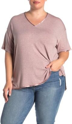 H By Bordeaux Satin Trim V-Neck Short Sleeve T-Shirt (Plus Size)