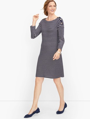Talbots Knit Button Shoulder Sheath Dress - Stripe