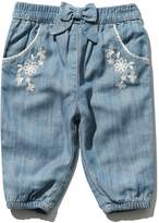 M&Co Floral embroidered denim wash trouser
