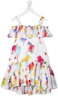 MonnaLisa Drink Print Ruffle Dress