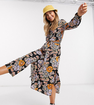 Monki Venera flower print shirt dress in multi