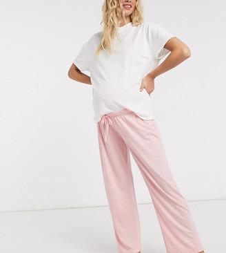ASOS DESIGN Maternity mix & match straight leg jersey pyjama pants in pink