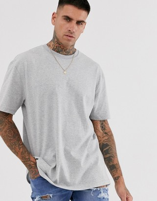 Topman oversized t-shirt in gray marl