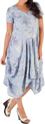 Chesca Floral Linen Drape Dress, Blue/Purple