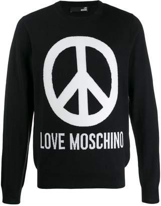 Love Moschino peace sign intarsia jumper