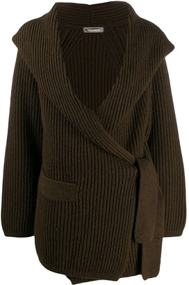 Issey Miyake Pre Owned 1980s Shawl Collar Ribbed Cardigan