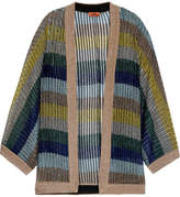 Missoni Striped Metallic Crochet-knit Cardigan - Blue