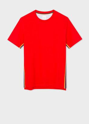 Paul Smith Men's Red Organic-Cotton T-Shirt With 'Artist Stripe' Webbing