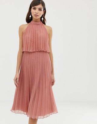 Asos Design DESIGN halter tie neck midi dress in pleat-Pink
