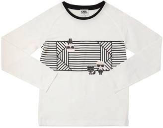 Karl Lagerfeld Paris STRIPES PRINT COTTON JERSEY T-SHIRT