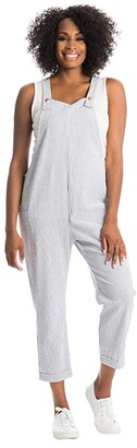 Everly Grey Nani Maternity/Nursing Overall (Royal Stripe) Women's Jumpsuit & Rompers One Piece