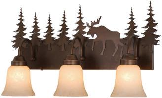 Vaxcel Yellowstone 3 Light Bronze Rustic Moose Bathroom Vanity Fixture