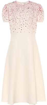 Valentino Embellished wool and silk midi dress