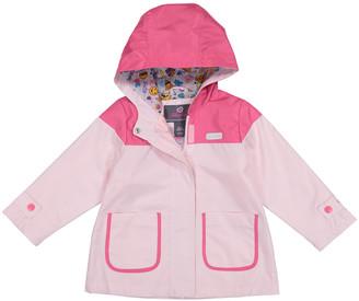 Skechers Girls' Rain Coats LIGHT - Pink Color Block Hooded Raincoat - Infant