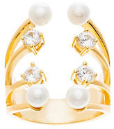 Lord & Taylor Cubic Zirconia and Fresh Water Pearl Open Cuff Ring- 2.3MM