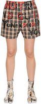Maison Margiela Printed Plaid Cotton Twill Shorts