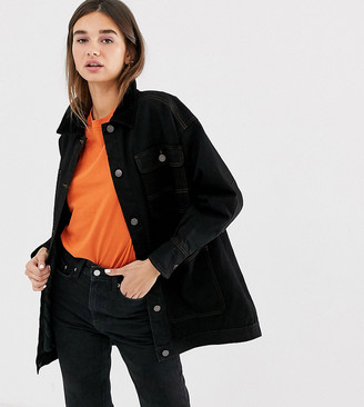 Monki cord collar quilted longline denim jacket in black