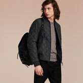 Burberry Lambskin Trim Quilted Wool Bomber Jacket
