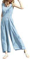 uxcell® Women Sleeveless Scoop Neck Smocked Waist Wide Leg Jumpsuit