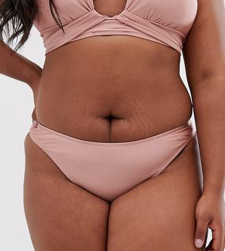 Asos DESIGN curve high leg hipster bikini bottom in shiny mink-Brown