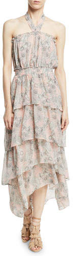MISA Los Angeles Valeria Halter Floral-Print Maxi Dress