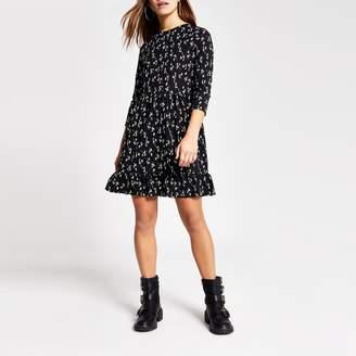 River Island Womens Petite Black floral mini smock dress